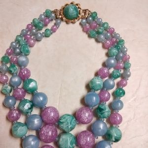 VTG plastic marbled swirled bead collar necklace